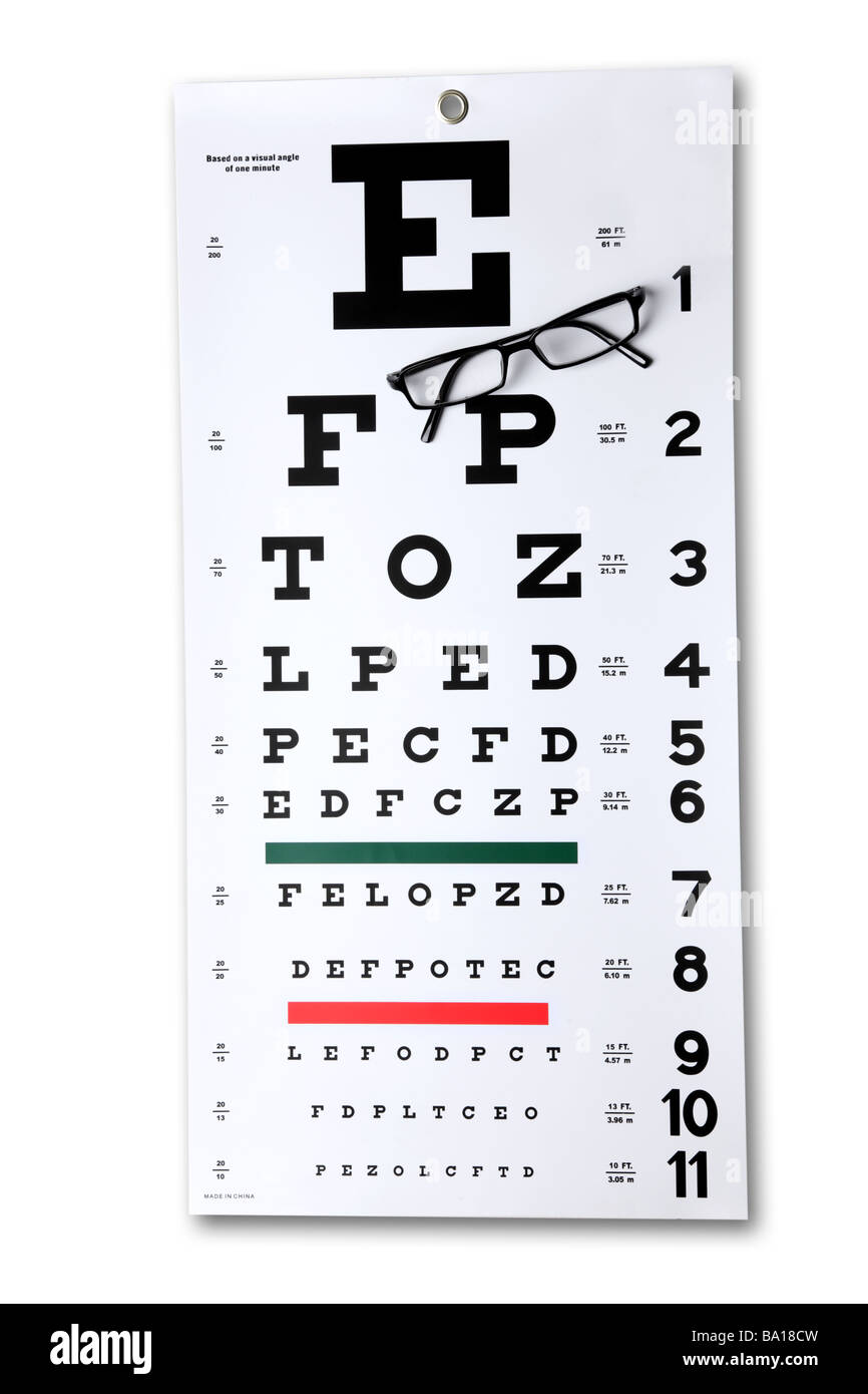 Eye chart and glasses cutout on white background - Stock Image