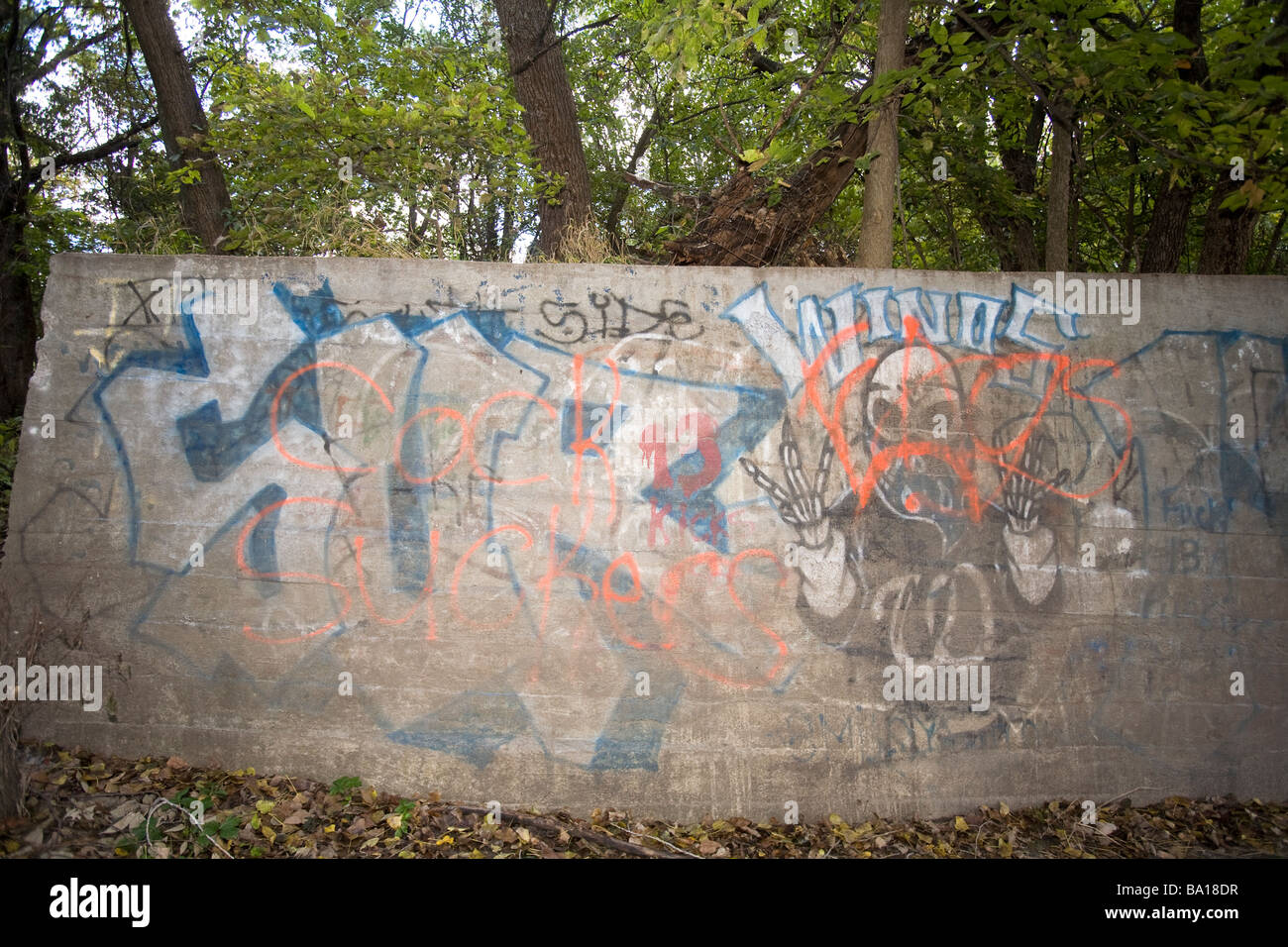 Gang grafitti in rural USA. Gangs are migrating from inner cities to rural communities. - Stock Image