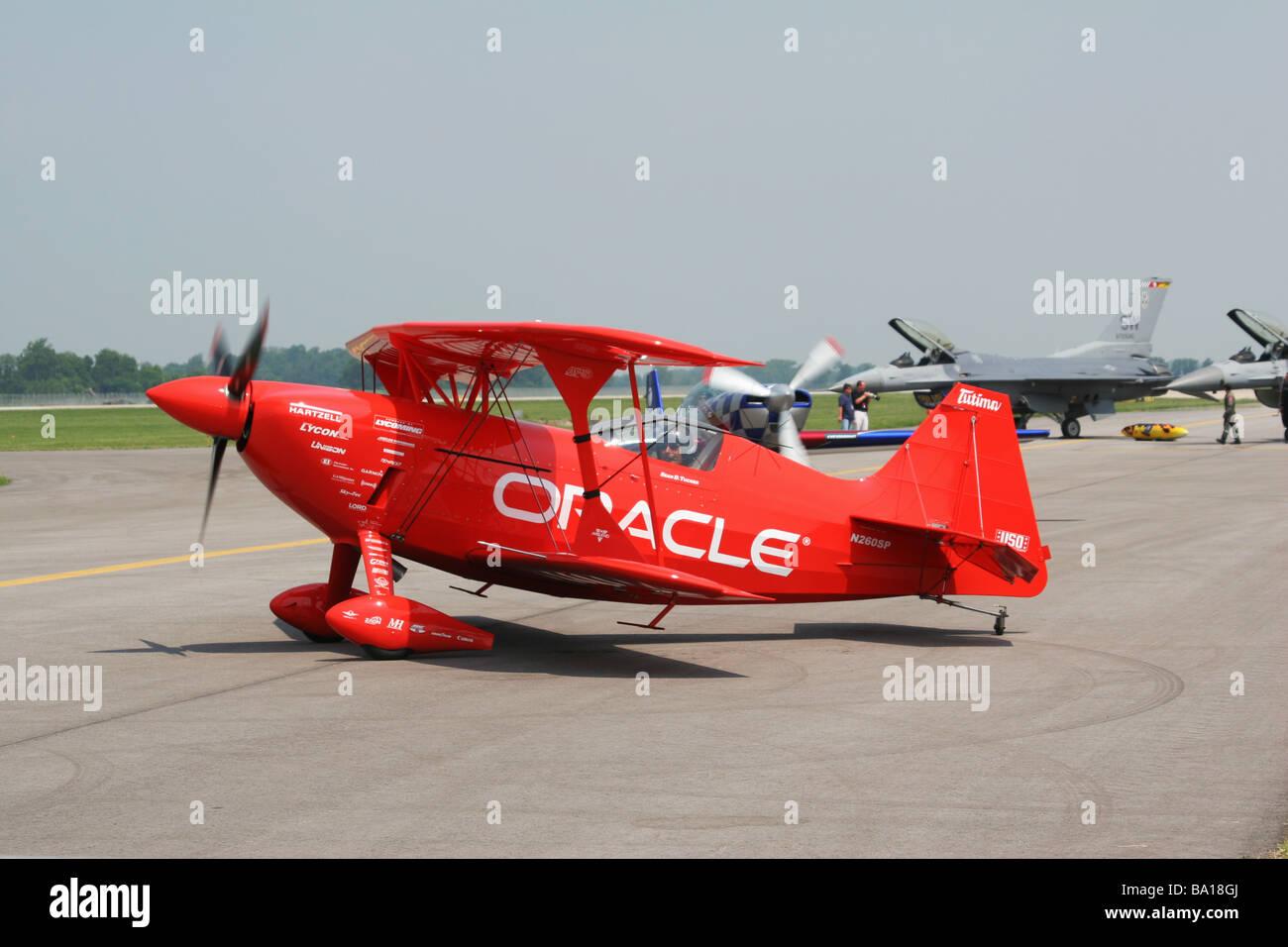 Sean D Tucker With Oracle Aerobatic Airplane at Dayton Air Show Vandalia Ohio Stock Photo