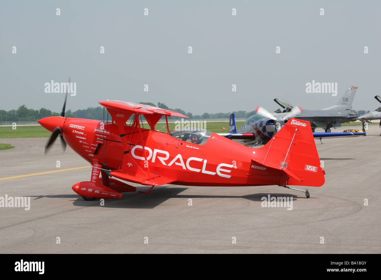 Sean D Tucker With Oracle Aerobatic Airplane at Dayton Air Show Vandalia Ohio Stock Photo