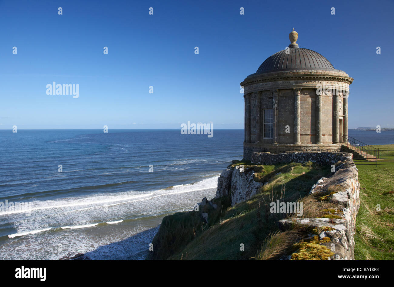 Mussenden Temple on the clifftop overlooking benone beach and downhill strand county londonderry derry northern - Stock Image