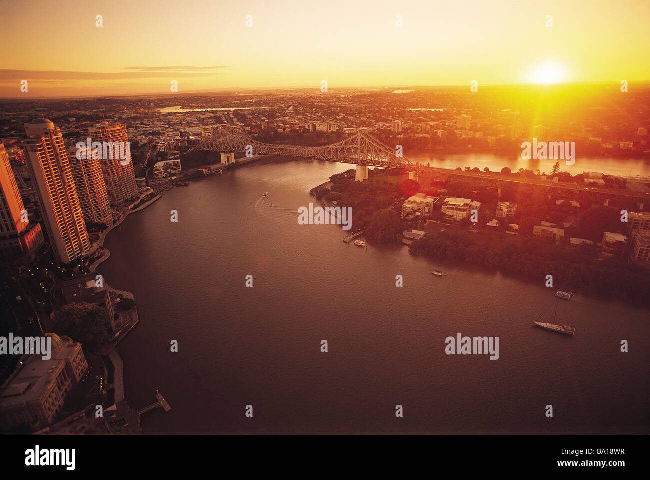 Brisbane Central Business District at sunrise - Stock Image