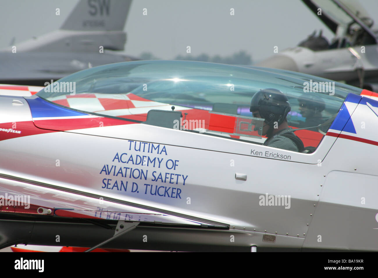 Ken Erickson With Aerobatic Airplane at Dayton Air Show Vandalia Ohio Stock Photo
