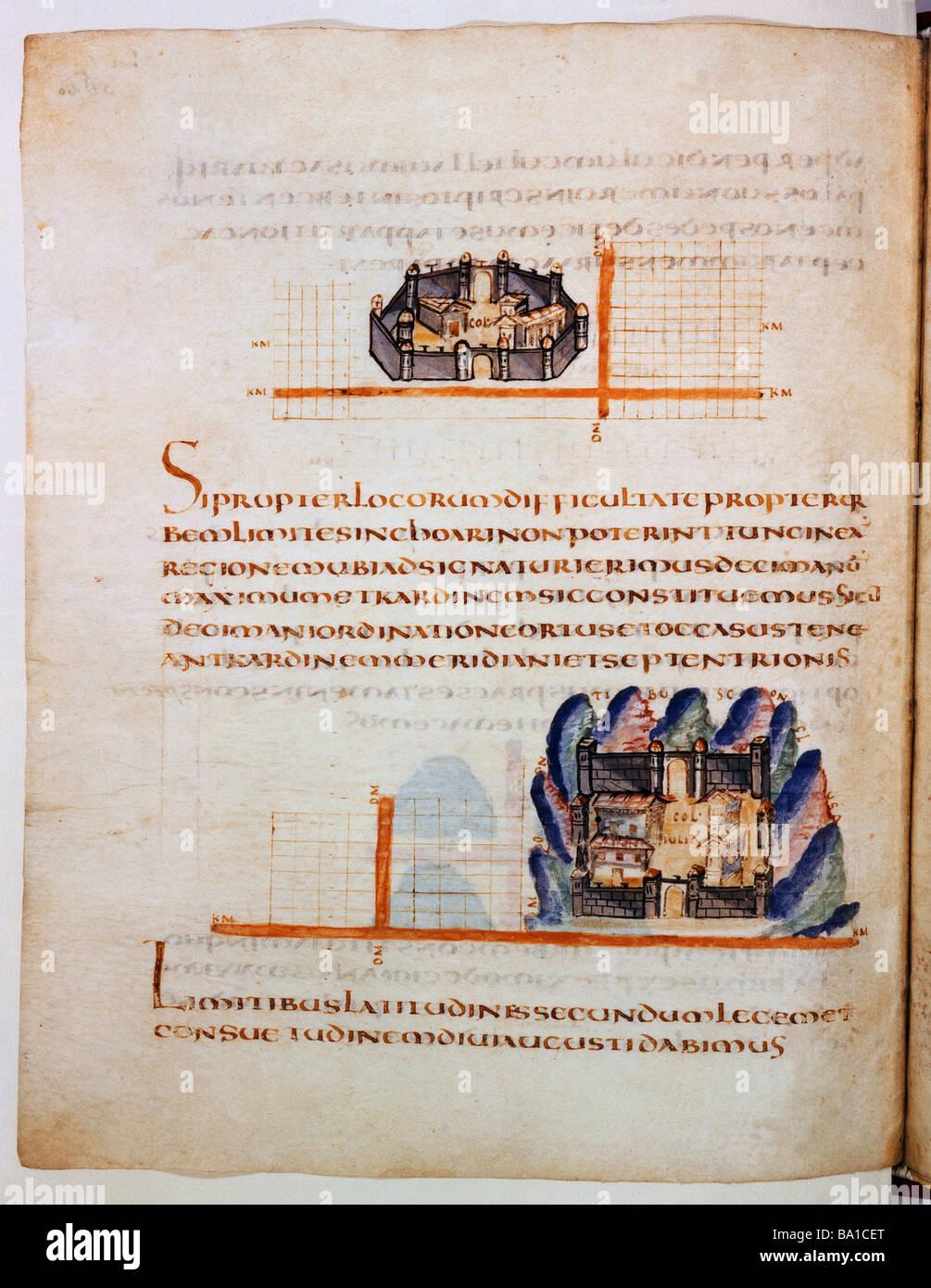 architecture, castles, city walls, illumination from 'Codex Guelf', Herzog August Bibliothek, Wolfenbuettel, - Stock Image