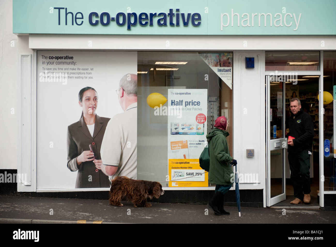 Exterior Co Op pharmacy pharmacist chemists shop Llandeilo Carmarthenshire West Wales UK co operative - Stock Image