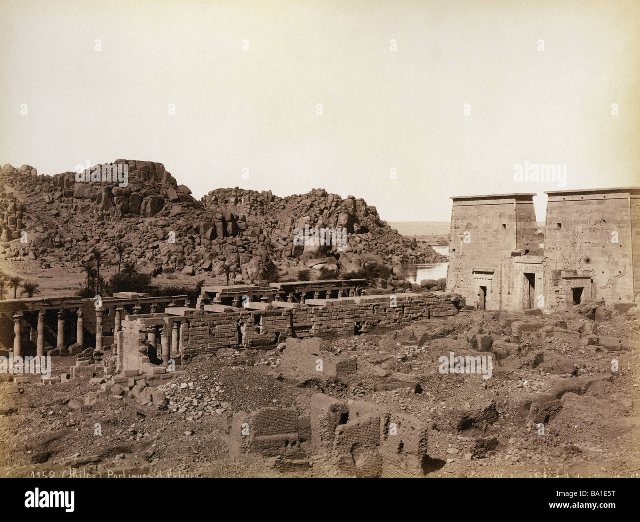 geography / travel, Egypt, Philae, colonnade and pylon, photograph by Gabriel Lekegian and Co., circa 1890, Additional - Stock Image