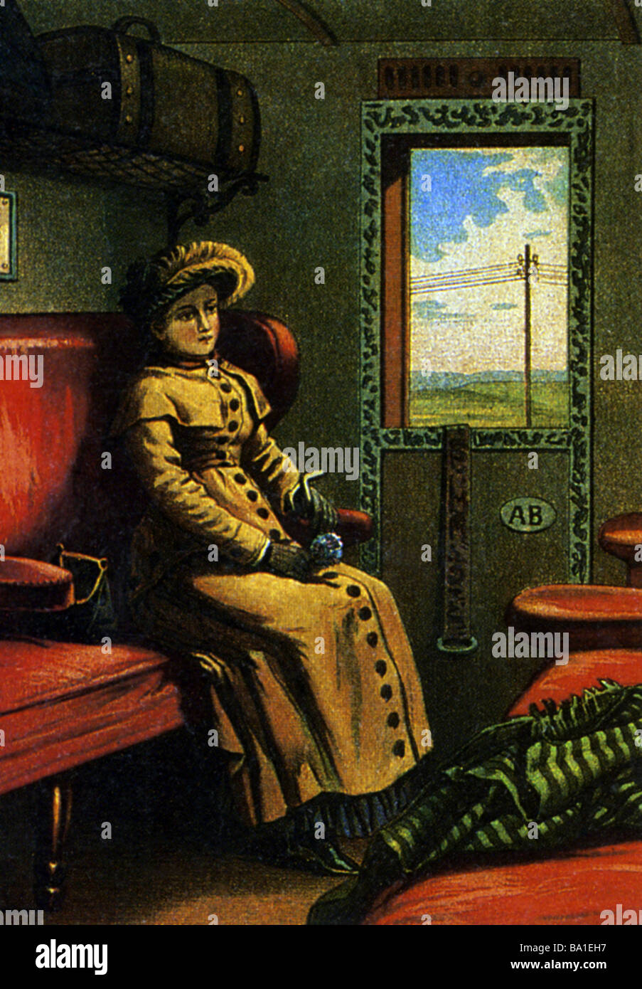 transport / transportation, railway, waggons, passenger cas, interior, woman in a compartment, circa 1900, , Additional - Stock Image