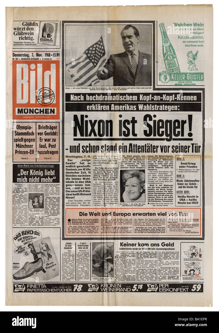 press/media, magazines, 'Bild', Munich, number 261, Thursday 7.11.1968, title, Nixon winner of US elections, - Stock Image