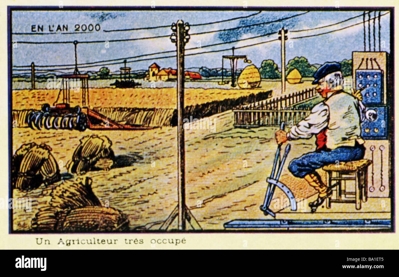 future, vision 'In the year 2000', 'A very occupied farmer', colour lithograph, France, 1910, , - Stock Image
