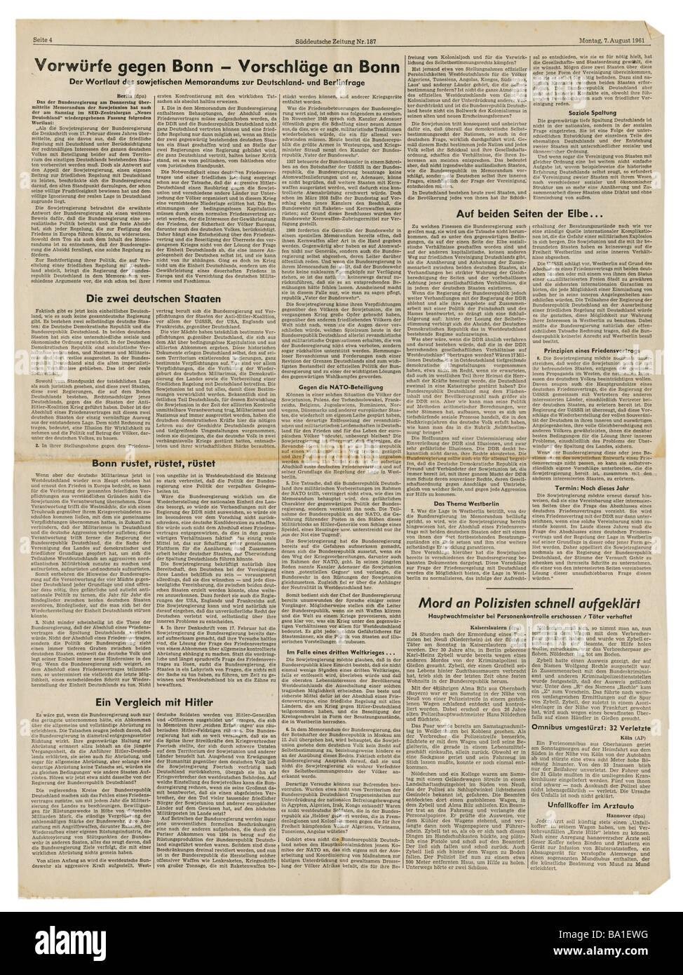 press/media, magazines, 'Süddeutsche Zeitung', Munich, 17 volume, number 187, Monday 7.8.1961, article, - Stock Image