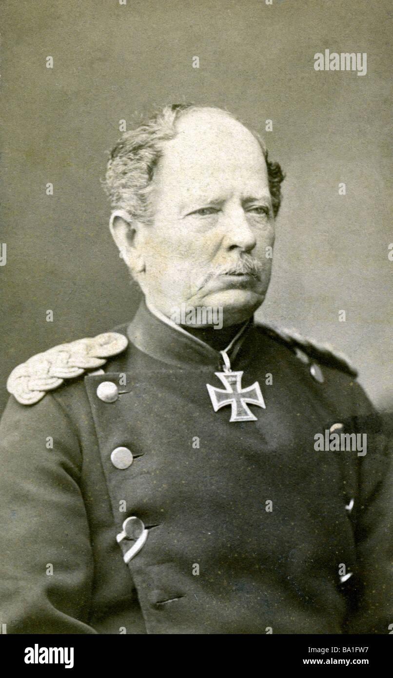 Werder, August von, 12.9.1808 - 12.9.1887, Prussian general, portrait, carte de visite by Schulz and Suck, Karlsruhe, - Stock Image