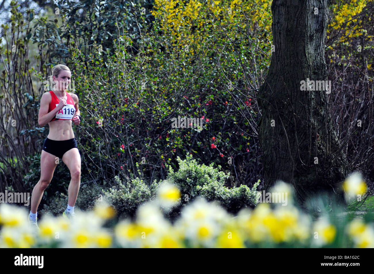 runner in northern athletics six stage road relay championship in stockport - Stock Image