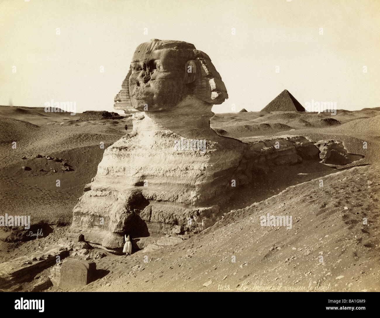 geography / travel, Egypt, Giza, Sphinx, photograph by Felix Bonfils (1831 - 1885), Africa, 19th century, historic, - Stock Image