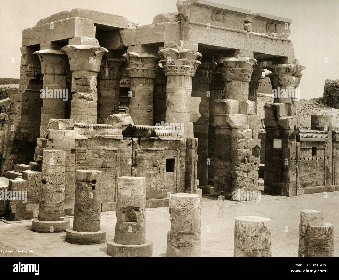 geography / travel, Egypt, Kom Ombo, temple of gods Sobek and Haroeris, hypostyle hall, view, Edition Photoglob, Stock Photo
