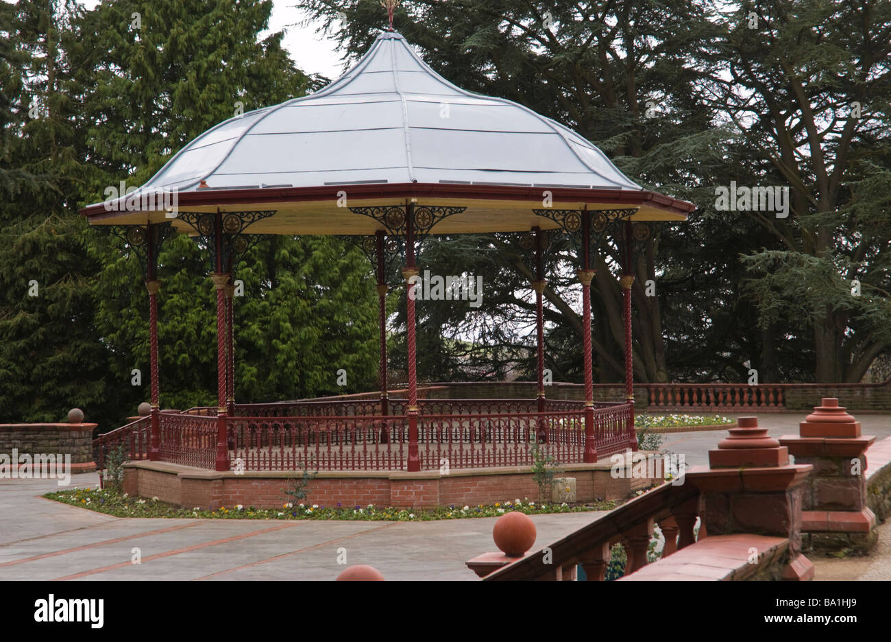 Restored bandstand in Belle Vue park Victorian public park in city of Newport South Wales UK - Stock Image