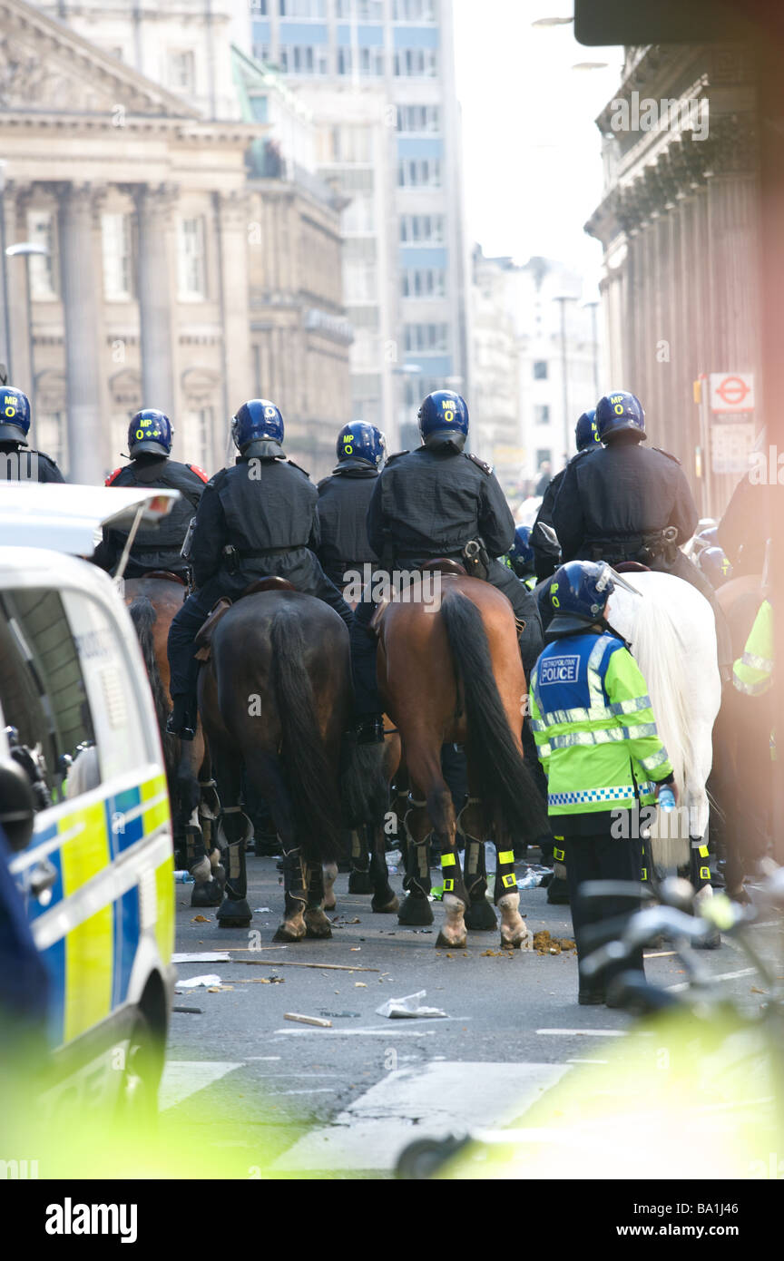 Mounted police G20 protest, Bank, London - Stock Image
