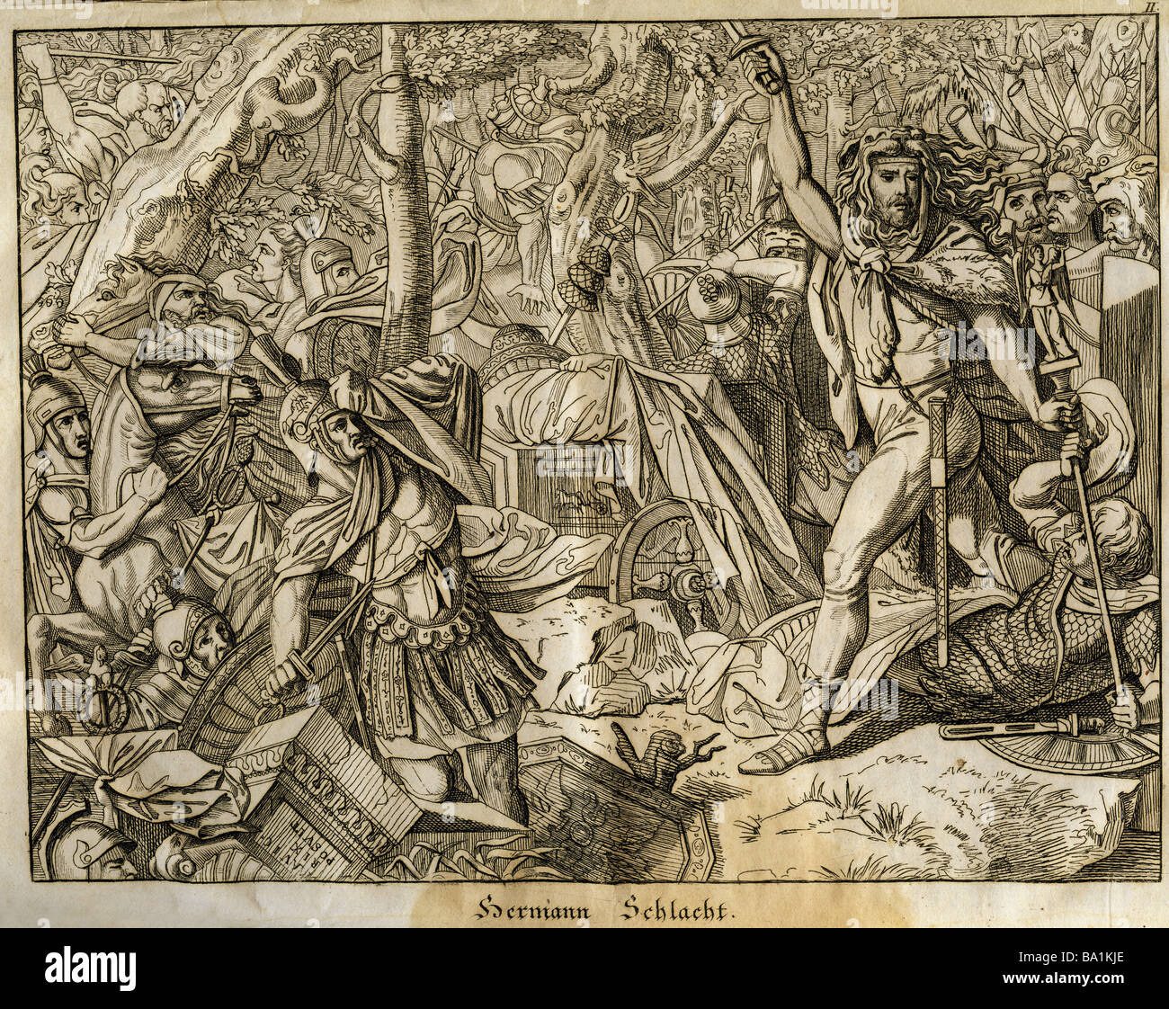 events, Germanic Wars, Battle of the Teutoburg Forest, 9 AD, 'Hermannsschlacht', copper engraving by Joseph - Stock Image
