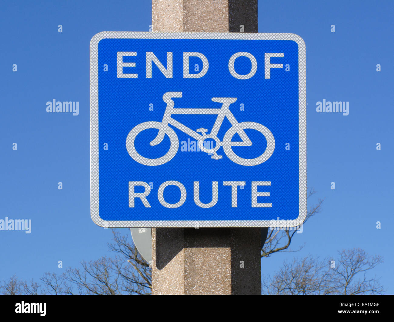 road signs - end of cycle route - Stock Image