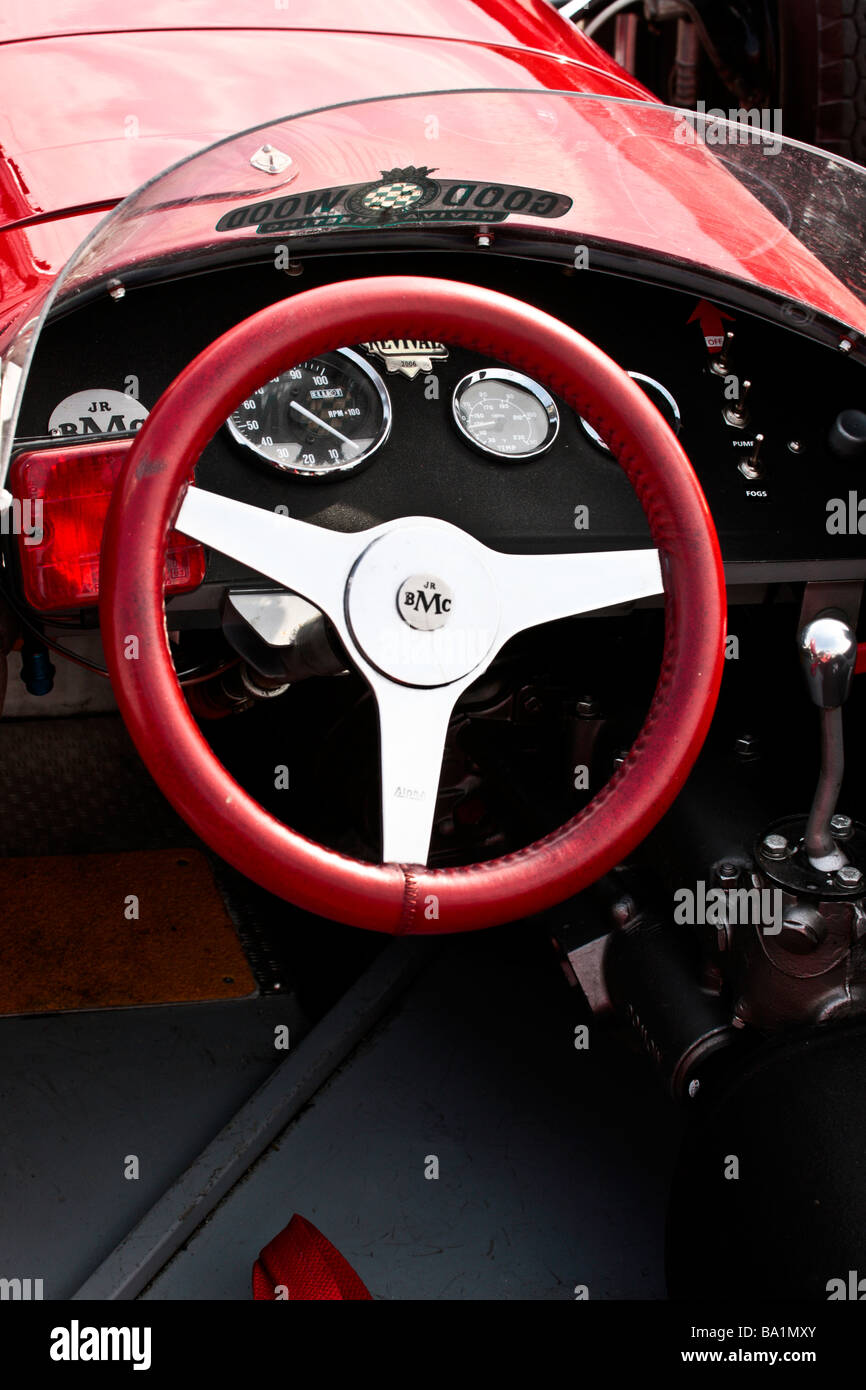 cockpit of a single seater historic racing car at mallory Park with Goodwood Revival sticker - Stock Image