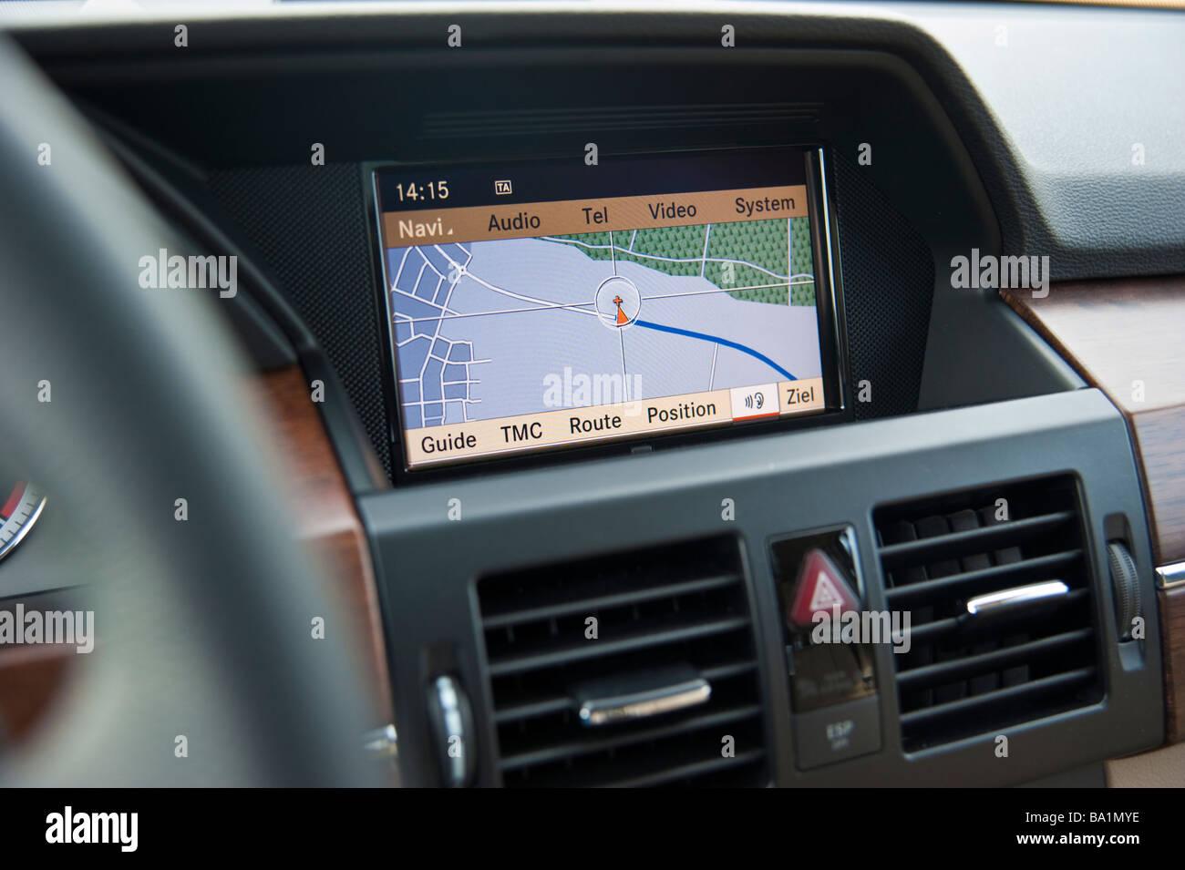 Display of on board navigation system in Mercedes GLK | Bildschirm des Onboard Navigationssystems im Mercedes GLK - Stock Image
