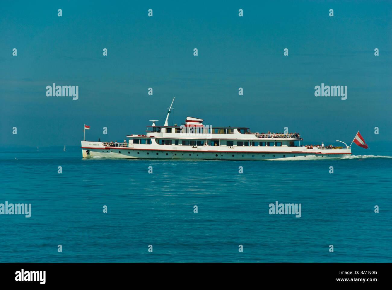 Passenger ship ferry Österreich on Lake Constance Germany | Passagierschiff Österreich auf dem Bodensee - Stock Image