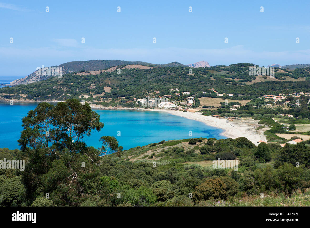 Beach at Cargese, Golfe de Sagone, Corsica, France - Stock Image