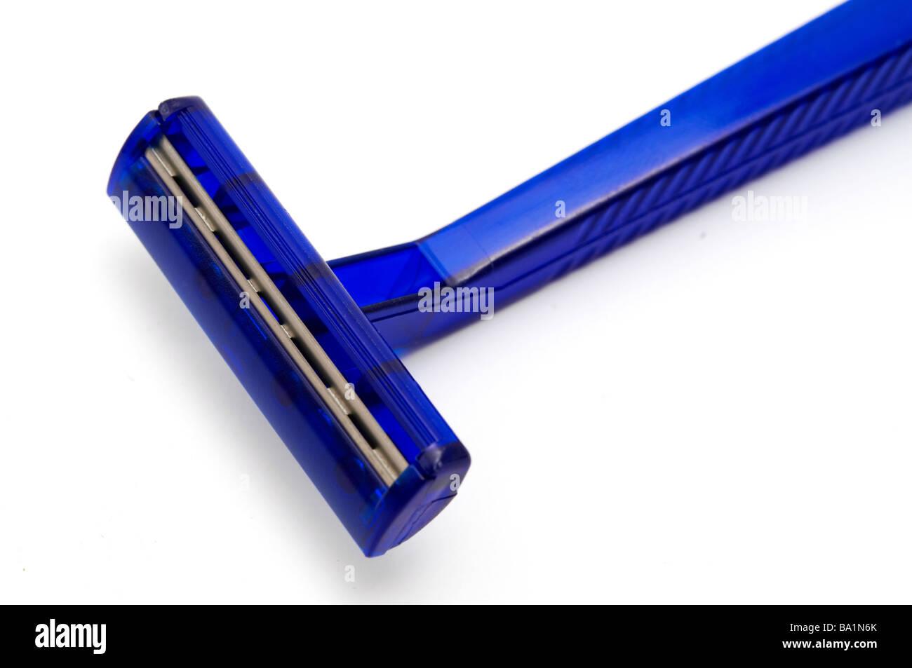 Blue Razor on a white background - Stock Image