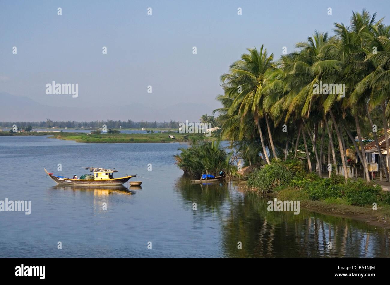 Boat on the Thu Bon River near Hoi An Vietnam - Stock Image