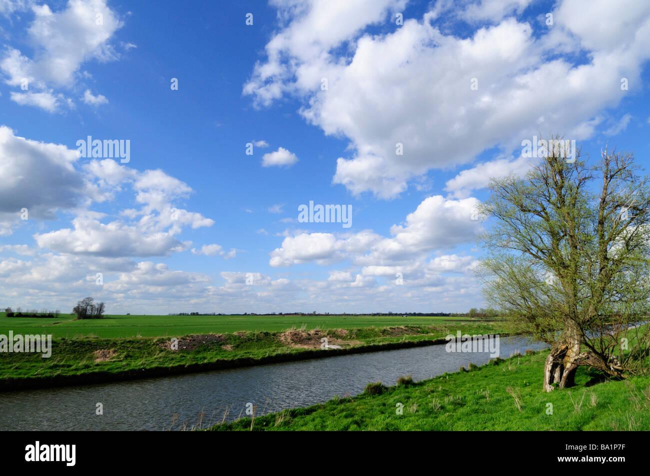 Flat fenland landscape and the River Great Ouse near Stretham Cambridgeshire England Uk - Stock Image