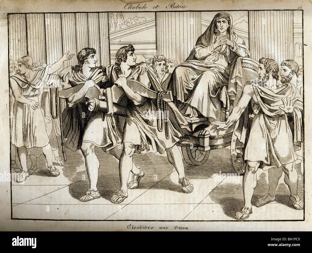 ancient world, Greece, mythology, 'Kleobis and Biton', copper engraving, 'Vorzeit und Gegenwart', - Stock Image