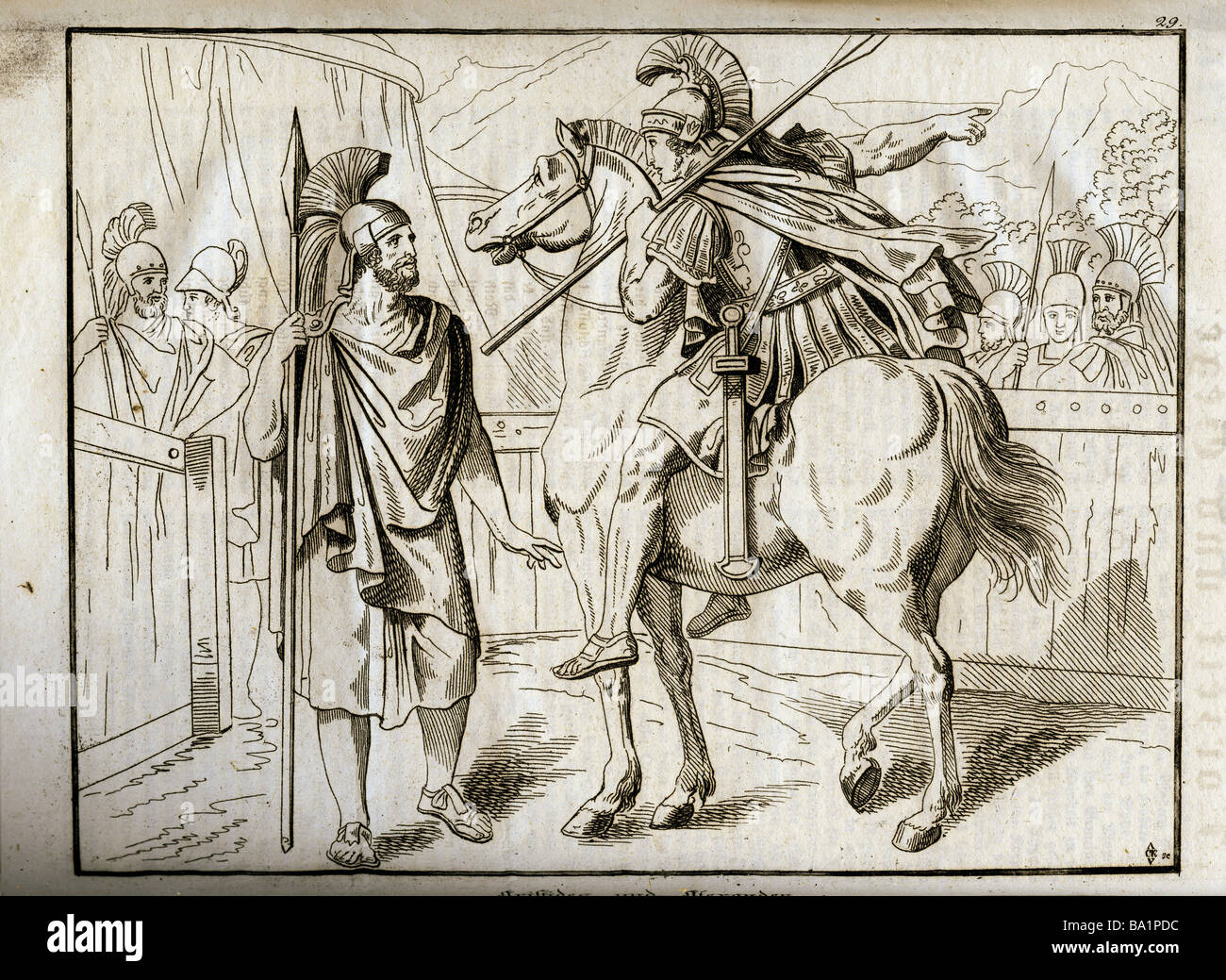 events, Greco-Persian Wars, 499 - 448 BC, 'Aristides and Alexander', 479 BC, copper engraving, 'Vorzeit - Stock Image