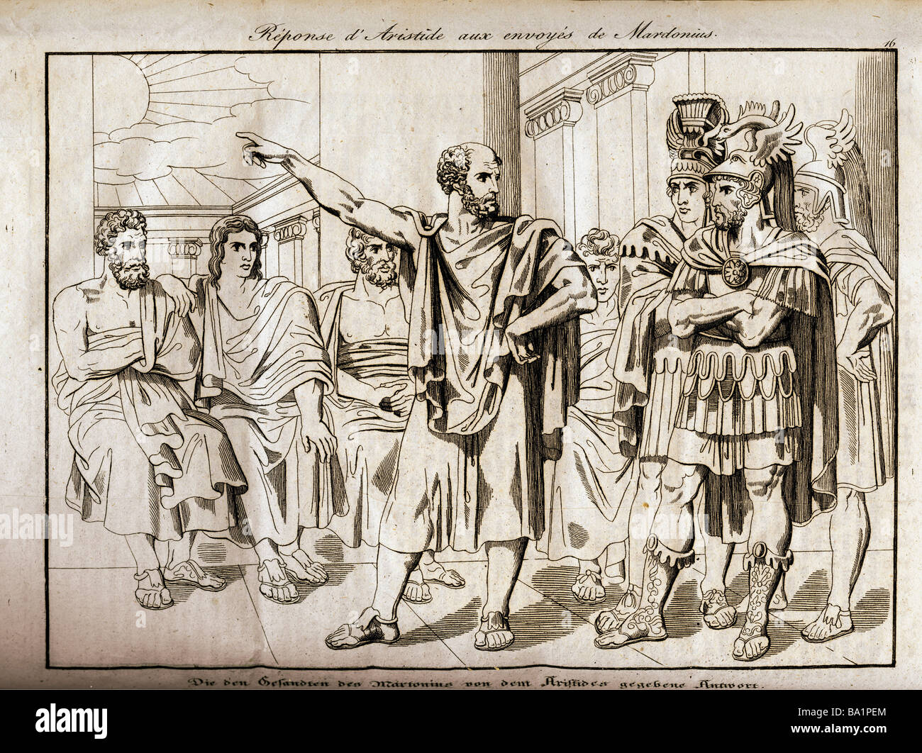 """events, Greco-Persian Wars, 499 - 448 BC, """"The Answer given by Aristides to the Ambassadors of Mardonius"""", 480/479 Stock Photo"""