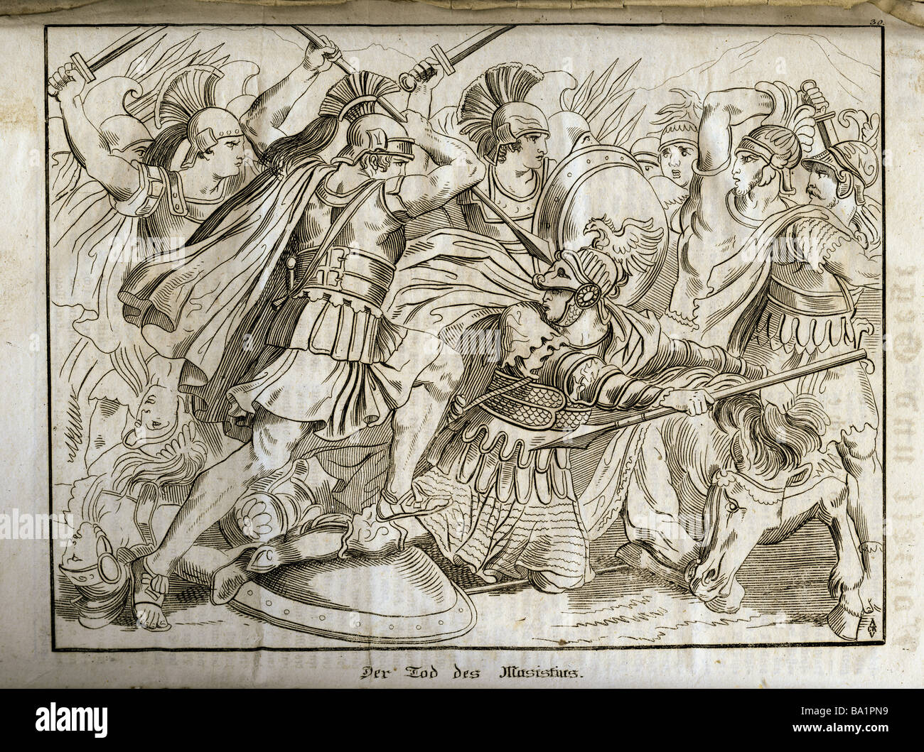"events, Greco-Persian Wars, 499 - 448 BC, Battle of Plataea,  479 BC, ""Death of Masistius"", copper engraving, ""Vorzeit Stock Photo"