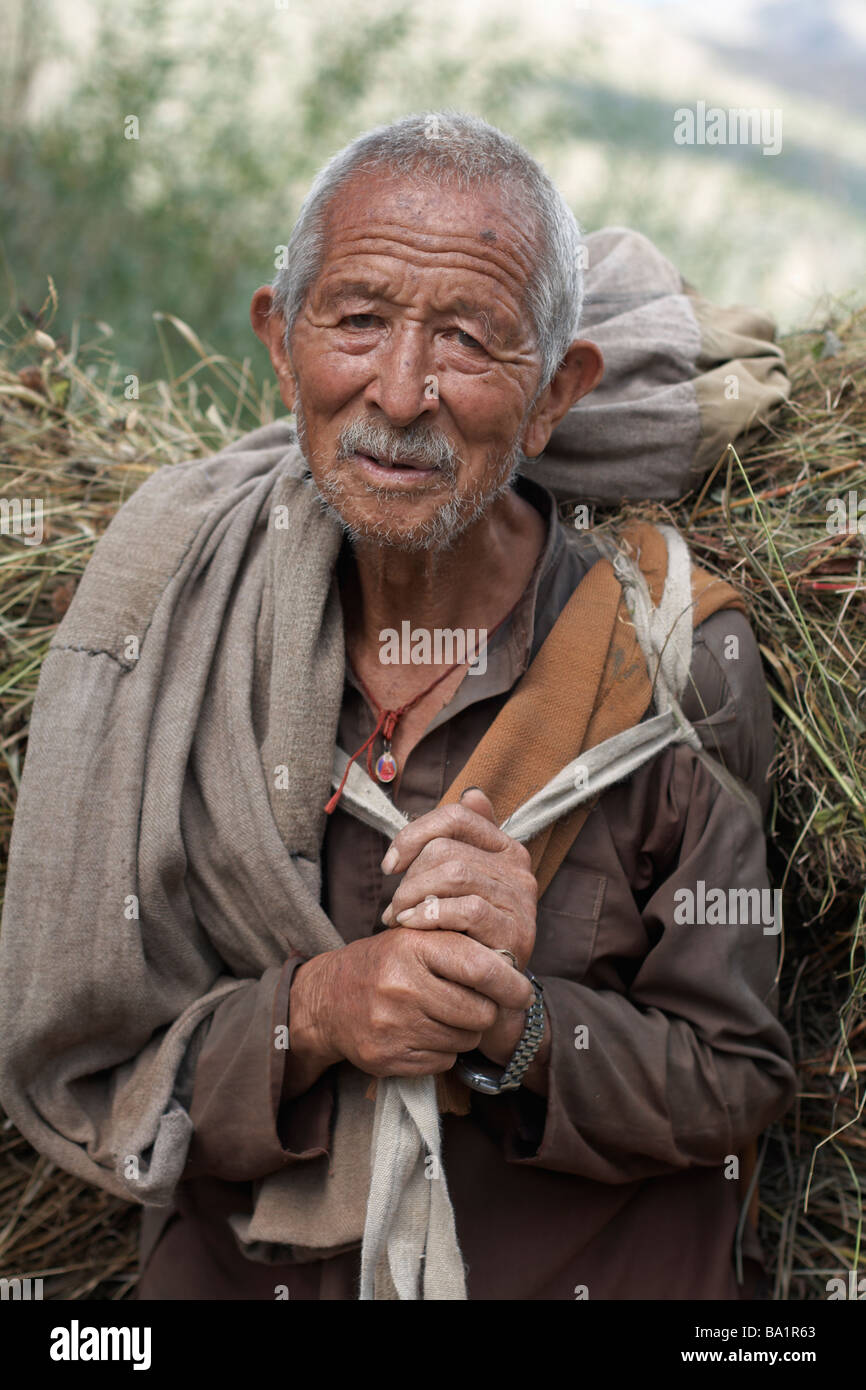 A Himachali man carrying straw in Keylong, Lahaul, India - Stock Image