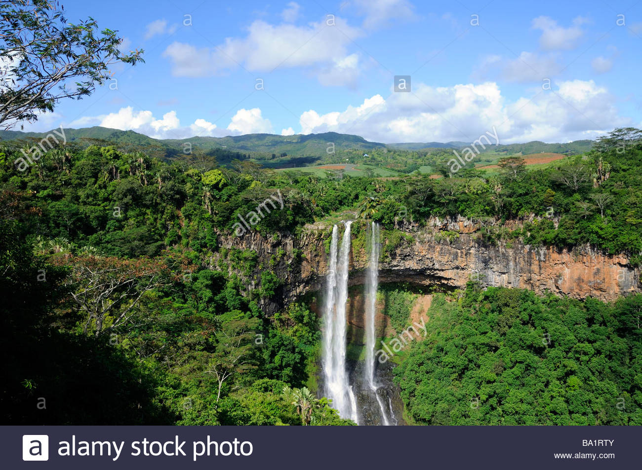 The spectacular Chamarel Waterfalls, Chamarel, Mauritius island - Stock Image