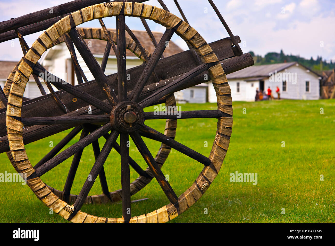 Spoked wheels of a Red River cart with tires made of shaganappi