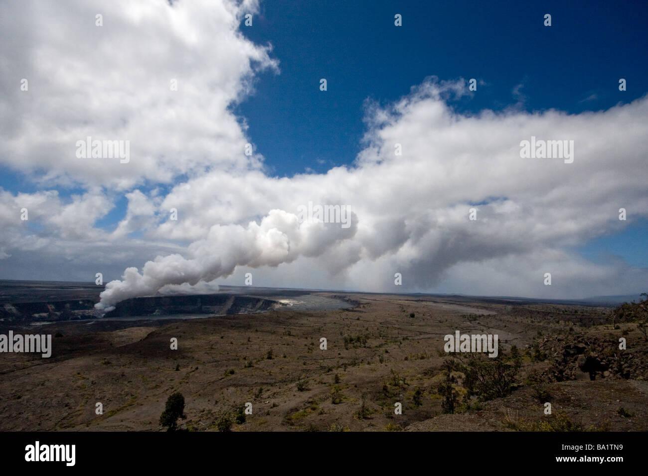 Halemaumau Crater - as seen from Halema'uma'u Crater Overlook along Crater Rim Drive at Kilauea Volcano - Stock Image