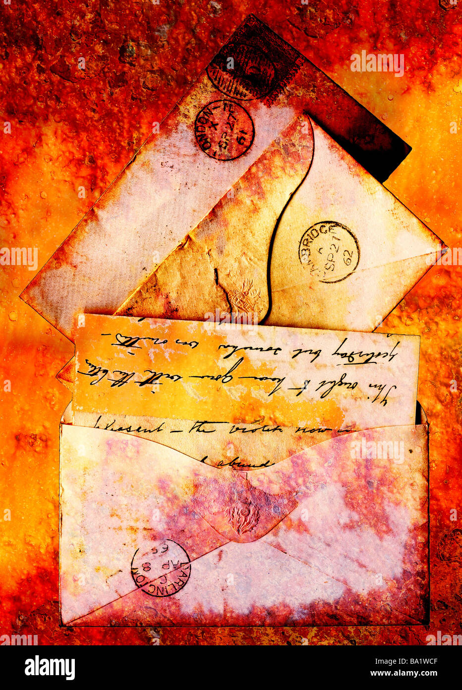 Victorian stationery from 1860s represented in a grunge style - Stock Image