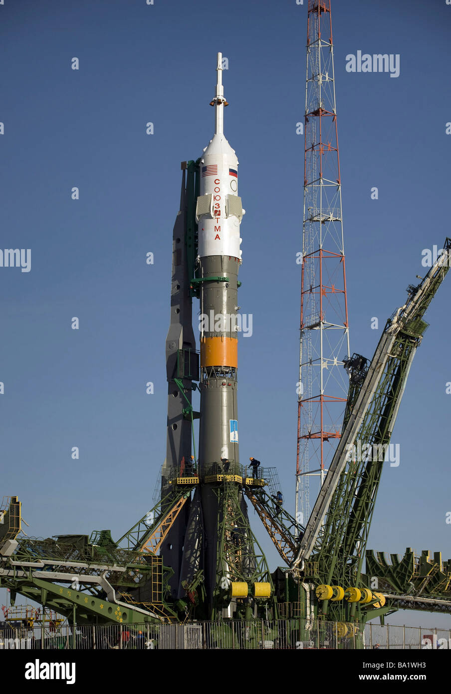 March 24, 2009 - The Soyuz rocket is erected into position at the launch pad at the Baikonur Cosmodrome in Kazakhstan. - Stock Image