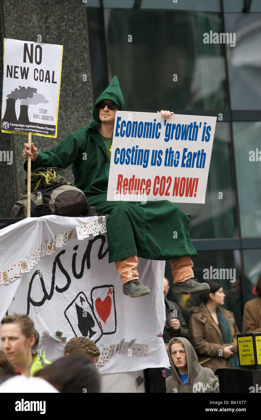 Protestors at G20 demonstration - Stock Image