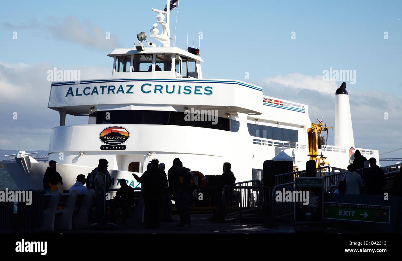 tourist ferry to Alcatraz prison, San Francisco - Stock Image