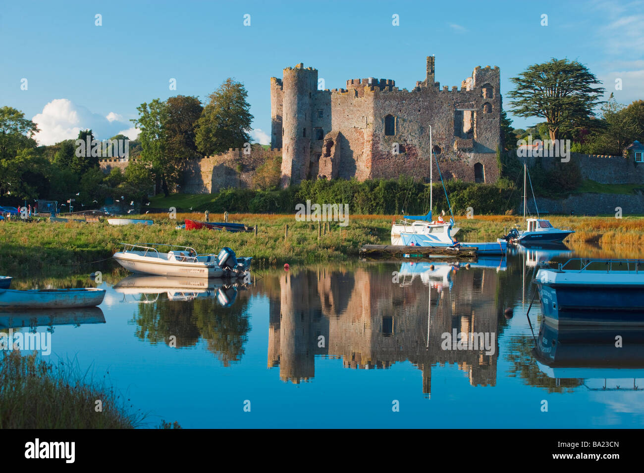 Laugharne Castle Carmarthenshire Wales - Stock Image