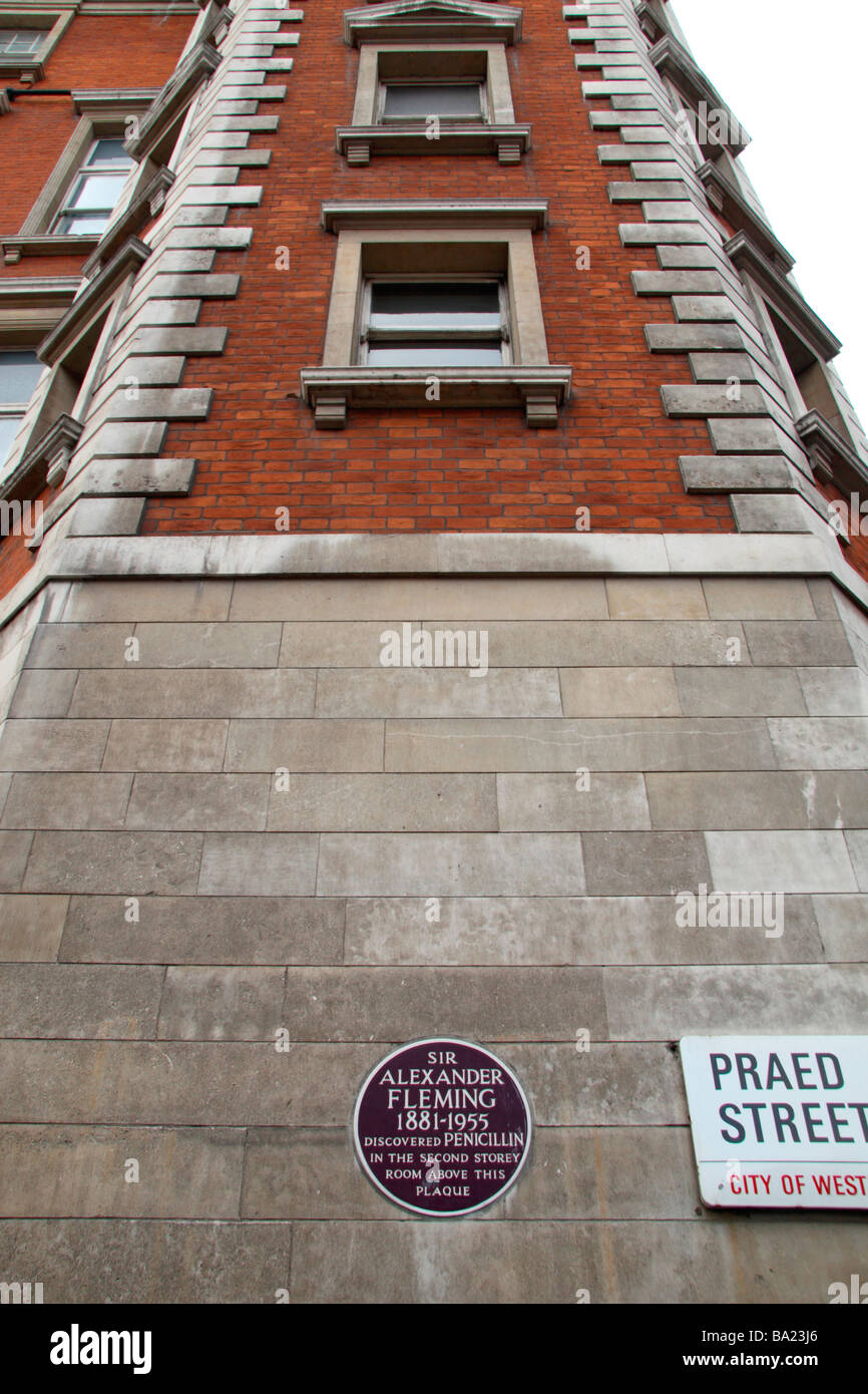 A maroon memorial plaque below the 2nd floor room at St Mary's Hospital London in which Alexander Fleming discovered - Stock Image