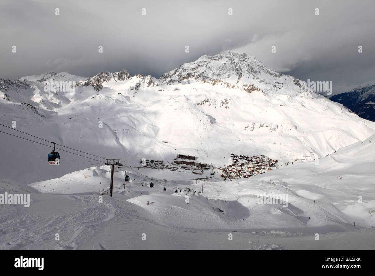 The ski resort of Tignes Le Lac in the midst of a break in a snow storm, Espace Killy, France - Stock Image