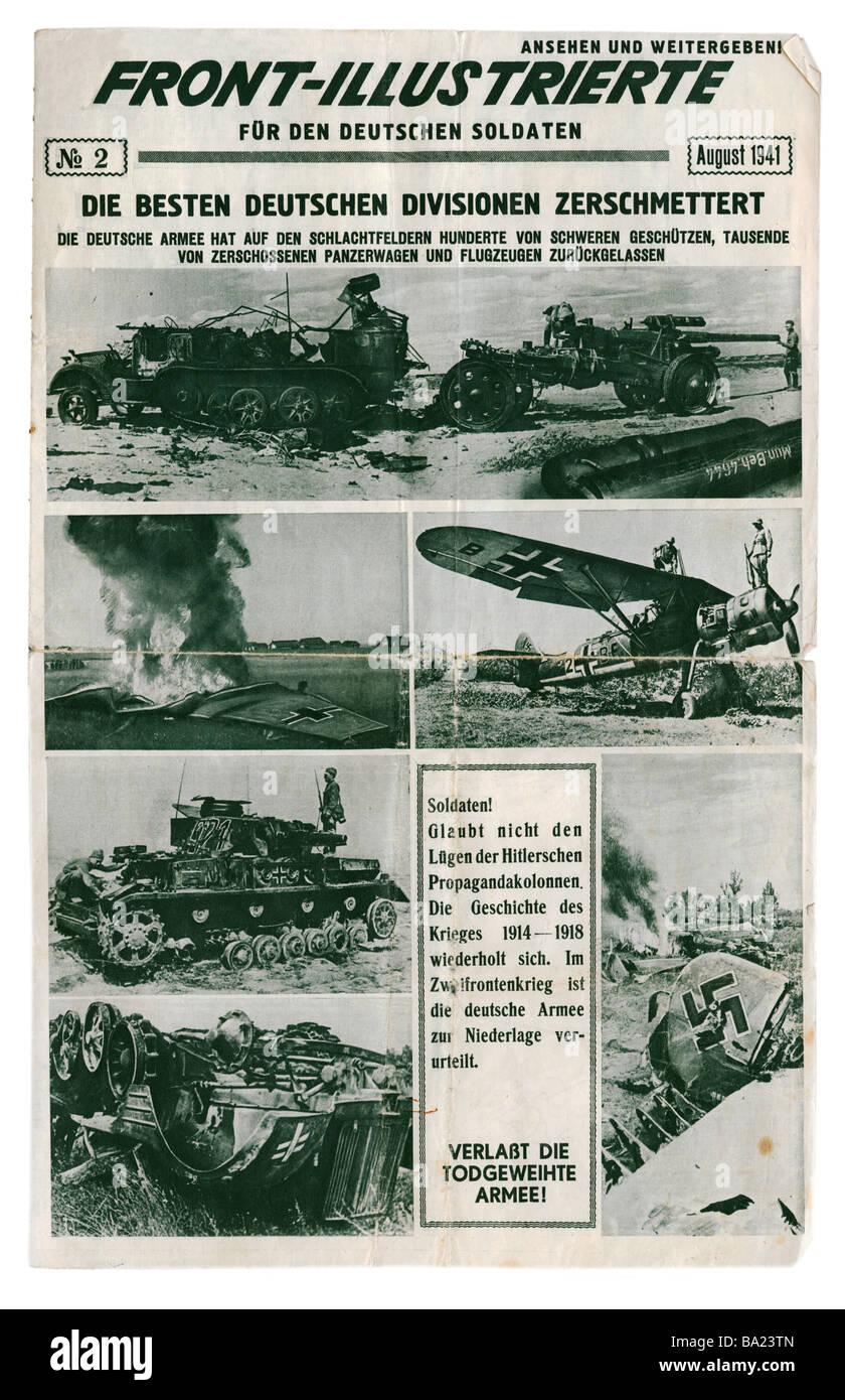events, Second World War / WWII, propaganda, Soviet propaganda newspaper, 'Front-Illustrierte fuer den deutschen - Stock Image