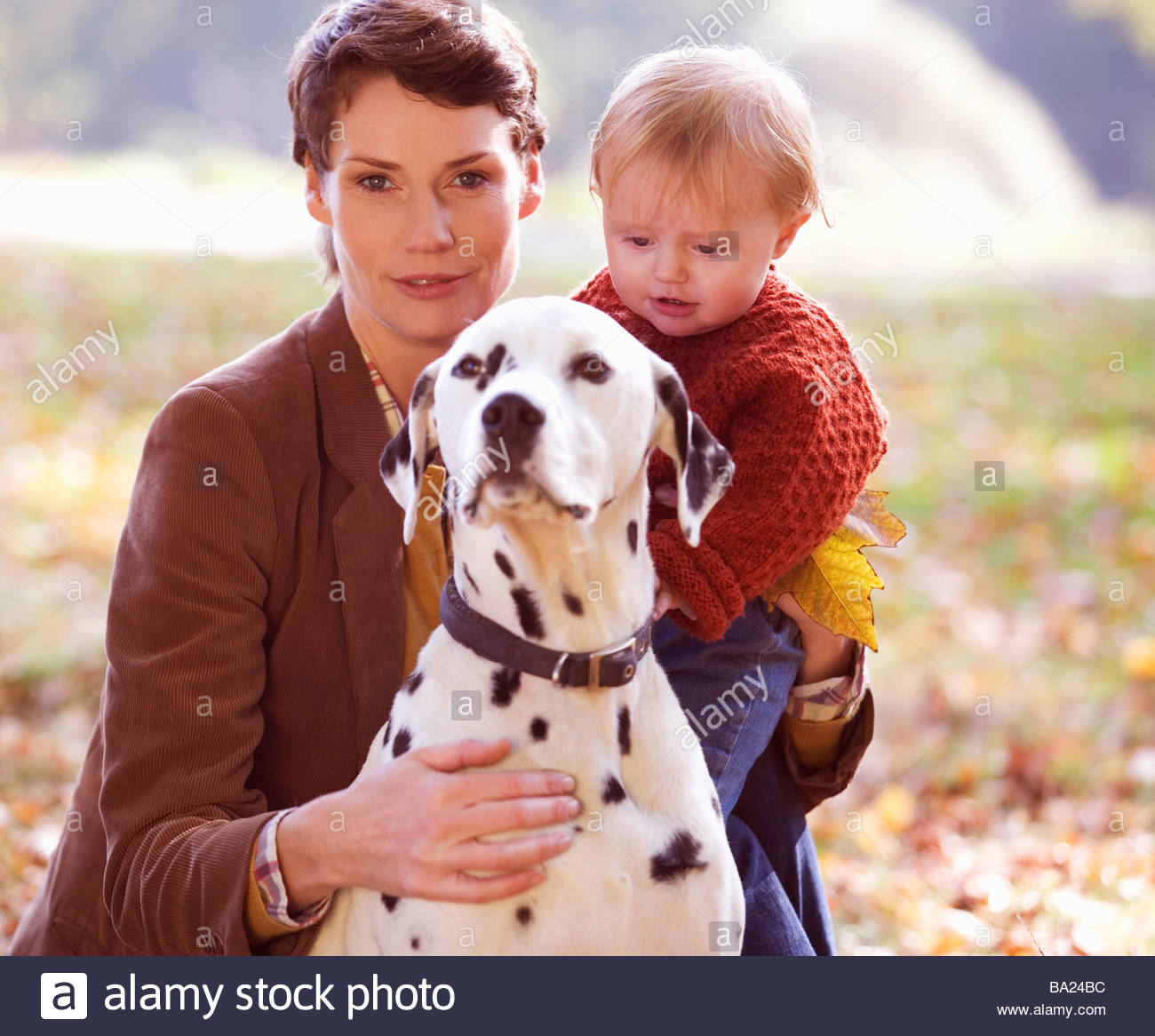 A portrait of a young mother with her baby and dog - Stock Image