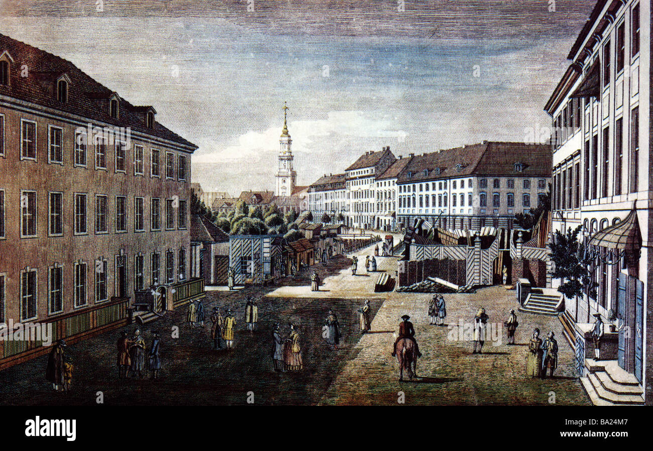geography / travel, Germany, Berlin, Hacke market, view, etching by Jean Rosenberg, 1781, Additional-Rights-Clearances - Stock Image