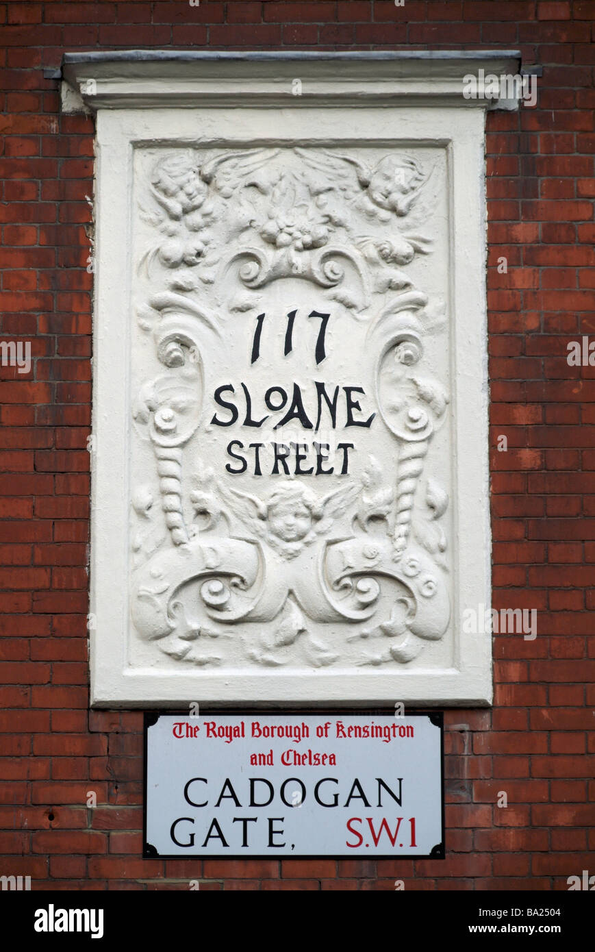 art nouveau style house number on sloane street knightsbridge stock