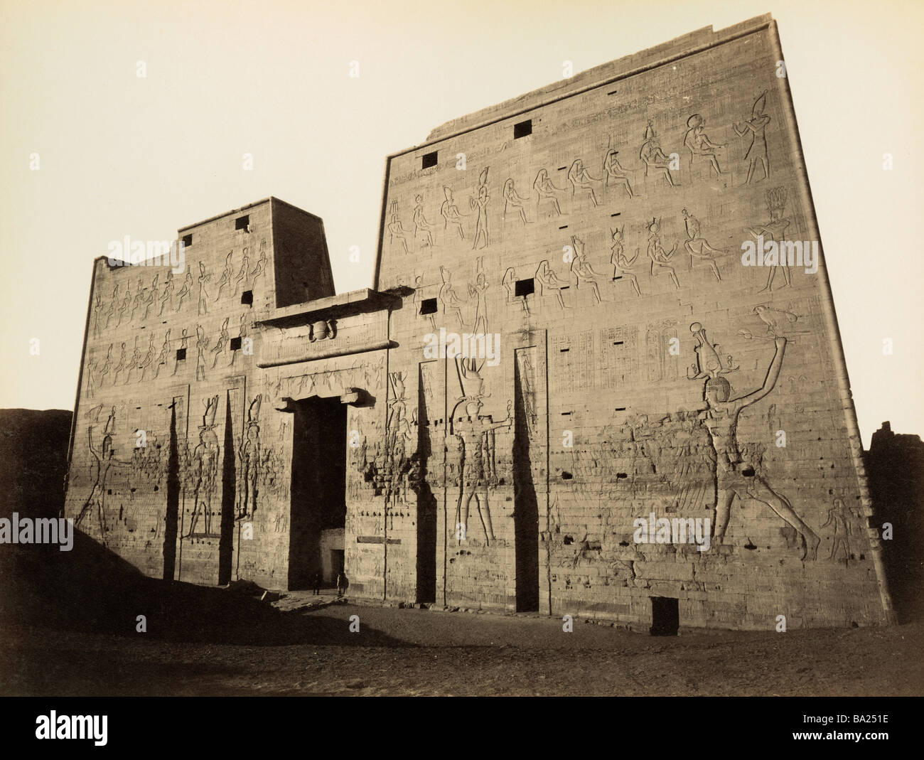 geography / travel, Egypt, Edfu, temple of Horus, Pylon, view, photograph by Gabriel Lekegian and Co., circa 1890, Stock Photo