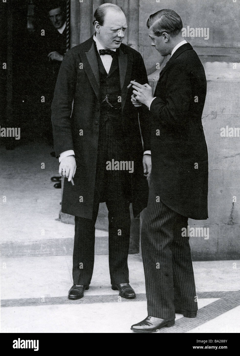 WINSTON CHURCHILL with the Prince of Wales at the House of Commons in 1919 - Stock Image